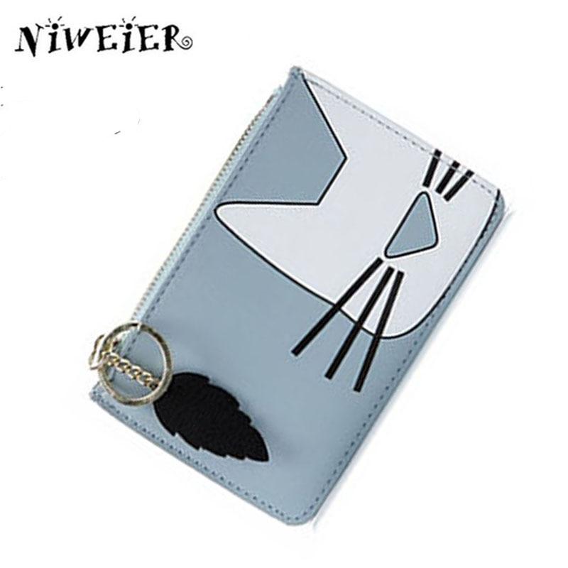 JULICXYJ New Cute Cat Coin Purse Fresh Delicate Women Girl Teenager Kid Mini Clutch Wallet With Key Chain Card Bag Bolsas Mujer