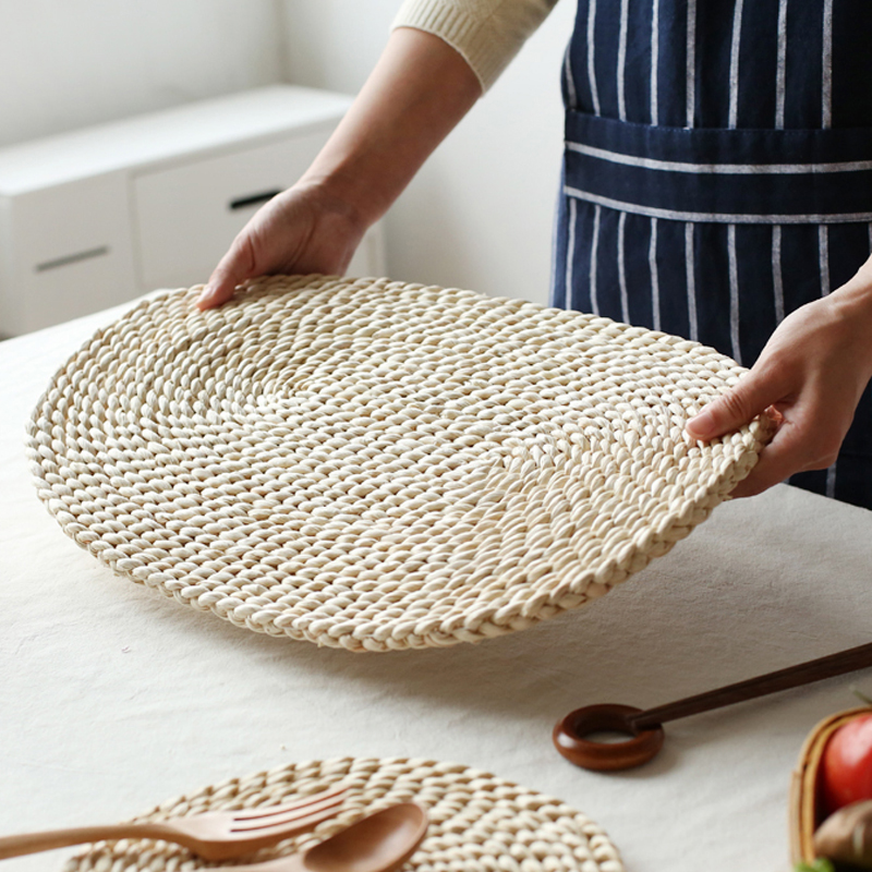 corn straw braided dining table mats extra thick coasters