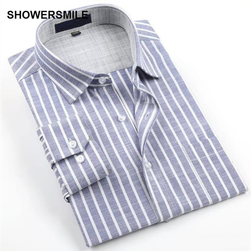 Showersmile brand clothing linen shirts men long sleeves for Men s no iron dress shirts