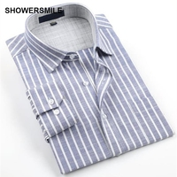 SHOWERSMILE Brand Clothing Linen Shirts Men Long Sleeves Plus Size No-Iron Cotton Flax Business Casual Shirts Mens Striped Shirt