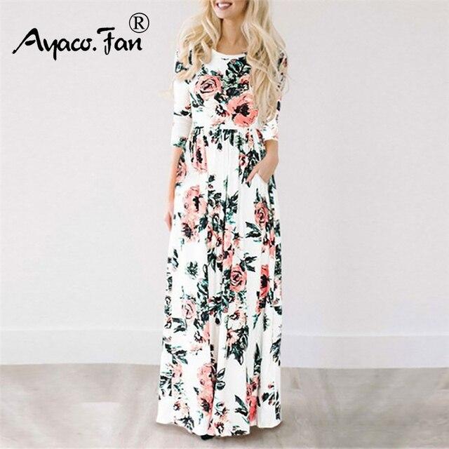 4370930649 Summer Long Dresses Floral Print Boho Beach Dress Tunic Maxi Dress Women  Evening Party Dresses Sundress Vestidos de festa XXXL