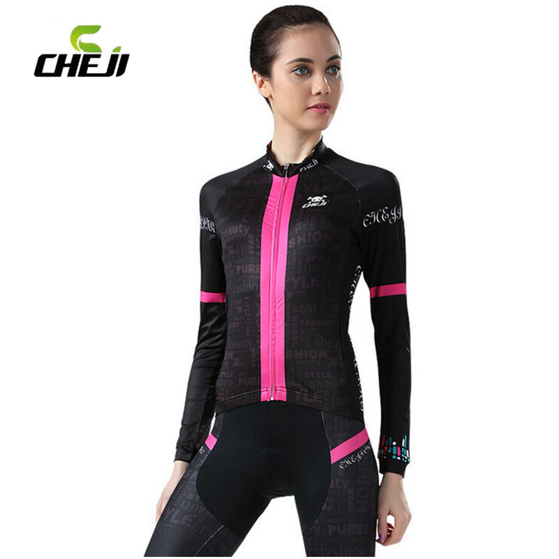 CHEJI 2017 Bike Jerseys Set Women Slim Fit Gel Cycling Pants Bicicleta Clothing Breathable Bicycle Cycling Jersey Ropa Ciclismo