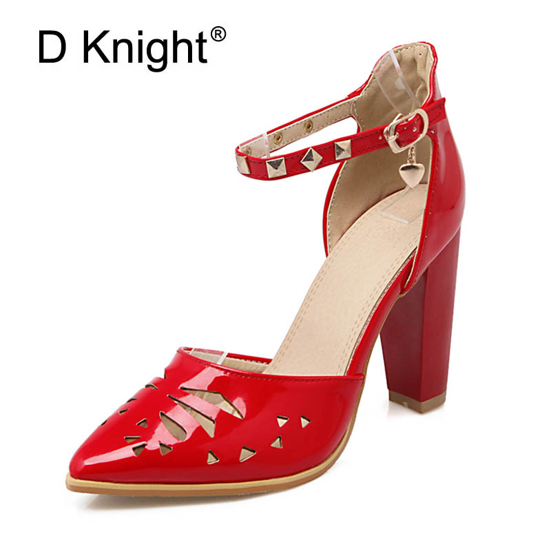 Plus Size 33-43 Women Sandals New Buckle Strap Fashion High Heel Office Lady Pump Woman Shoes Ladies Gilrs Black Red Pink White