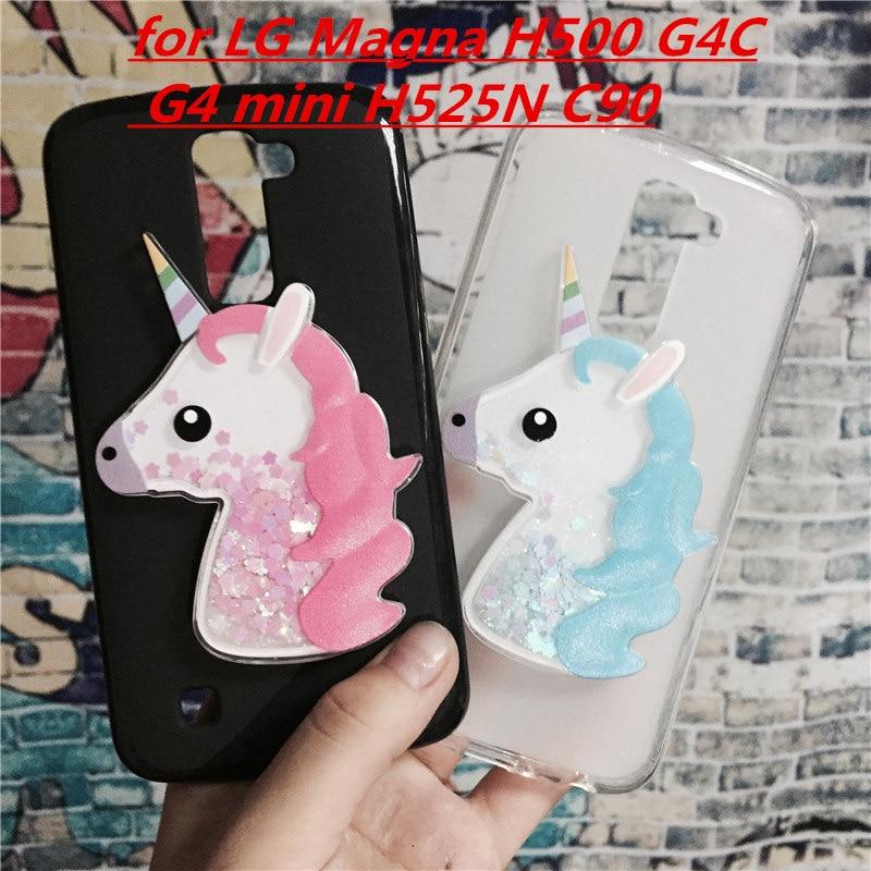 3D Licorne Quicksand Liquide Doux Étui En Silicone pour LG Magna H500 G4C G4 mini H525N C90 H520N H502F H500F Téléphone Couverture de Bande Dessinée