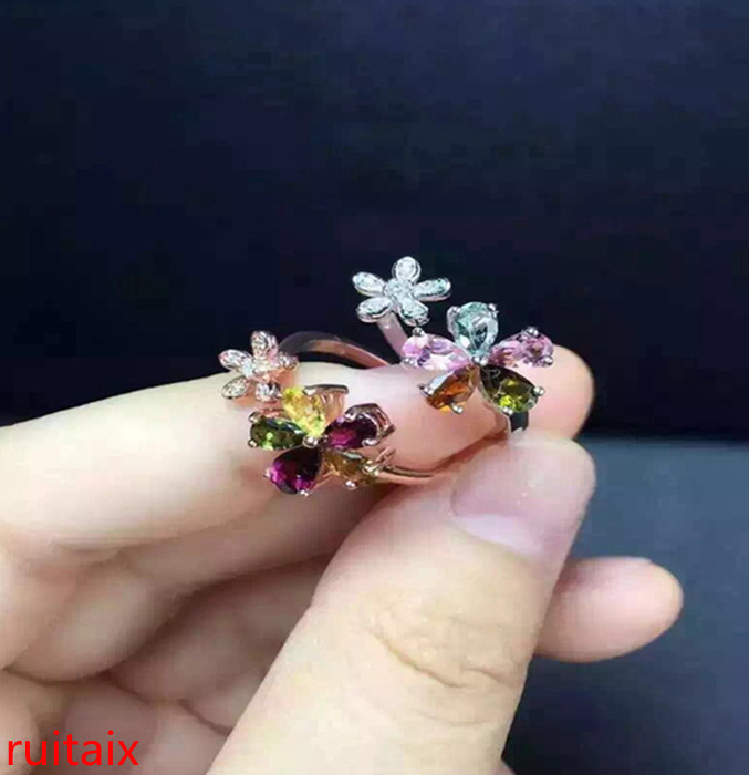 KJJEAXCMY fine jewelry S925 silver tourmaline size of plum flower opening ring jewelry natural gem parcel post.Rings   -