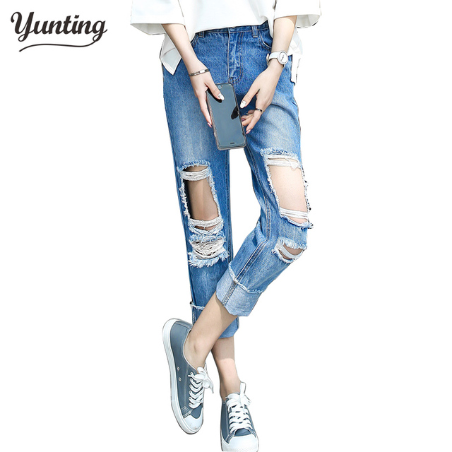 10a2bb67ff1364 Boyfriend hole ripped jeans women pants Cool denim vintage straight jeans  for girl High waist casual pants female