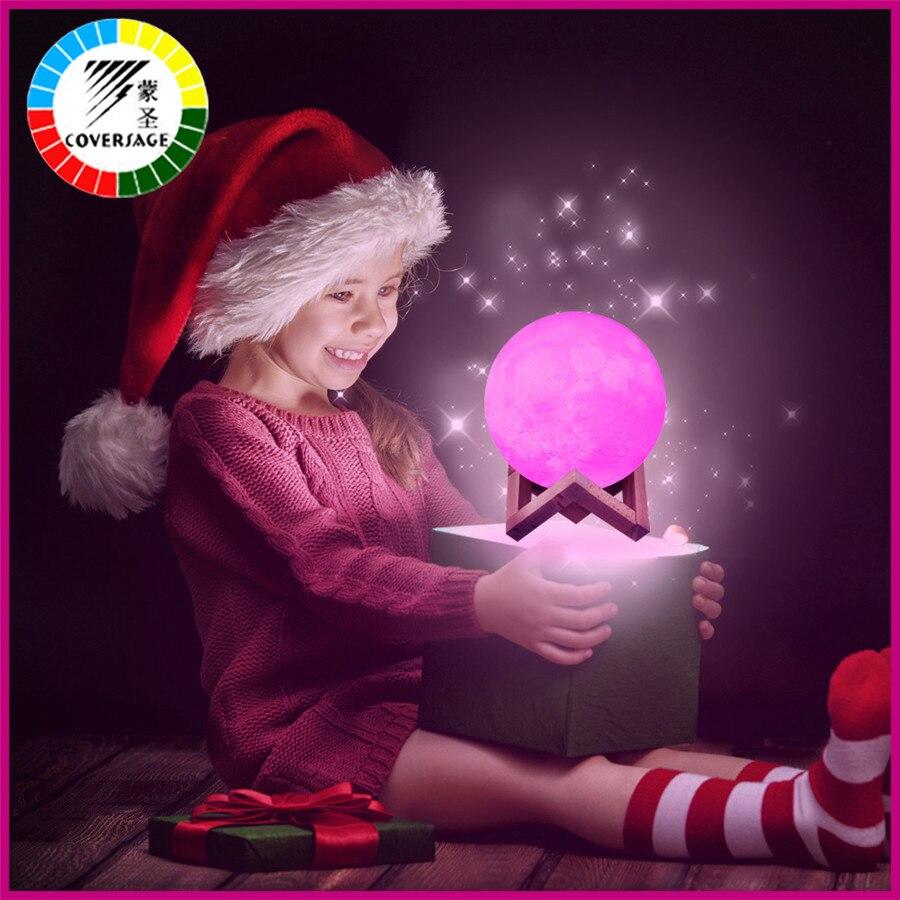 Coversage Led 3D Impressão Lua Night Light 16 Cores Recarregável USB Interruptor de Controle Remoto Da Lâmpada Luna Das Crianças Das Crianças Do Bebê Decoração Da Casa