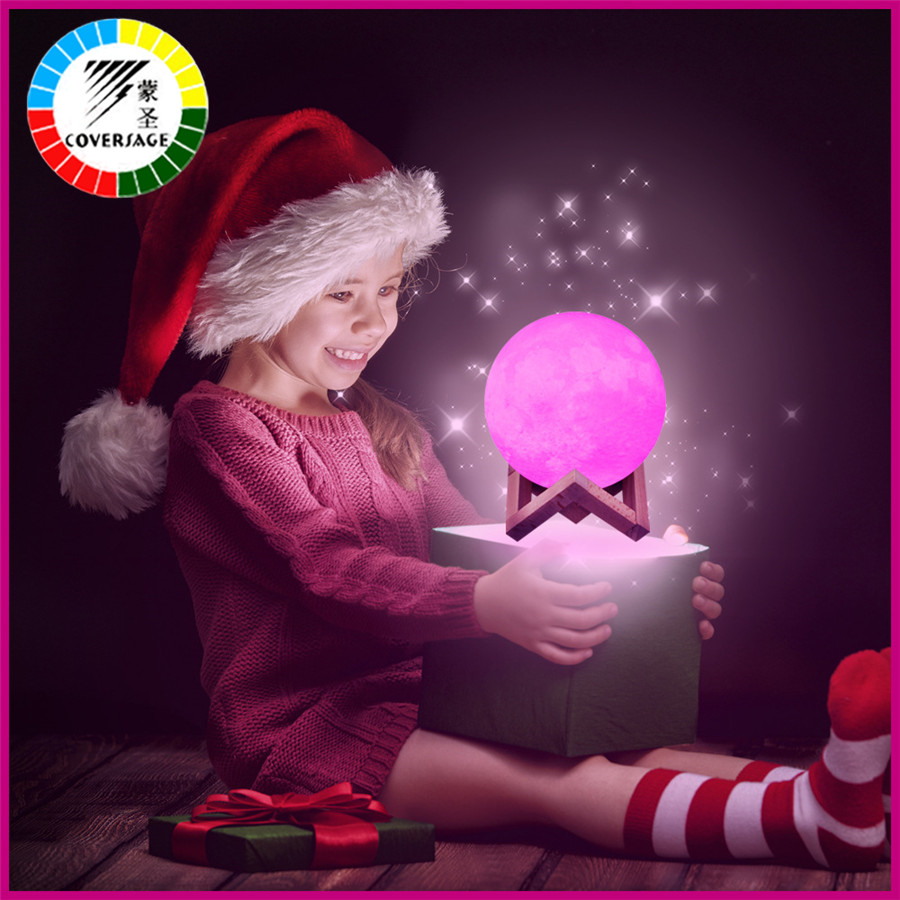 Coversage Led 3D Print Moon Night Light 16 Colors Rechargeable USB Remote Lamp Luna Switch Children Kids Baby Home Decoration