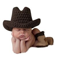 Handmade Newborn Baby Photo Props Infant Crochet Knitted Cowboy Costume Hat Boots 3pcs Set Winter Photography