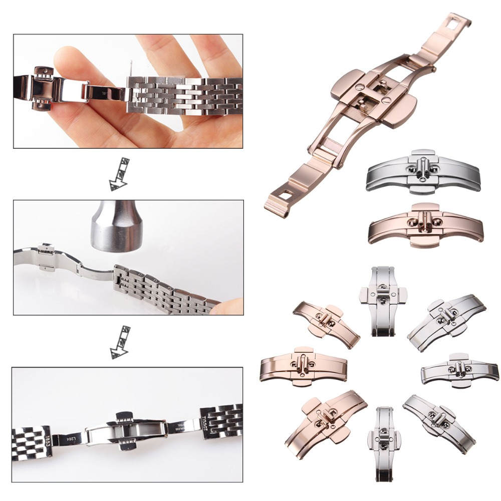 цены на Watch Accessories Butterfly Folding Clasp Buckle Tungsten Steel Watchband Strap Double Button Deployment Clasp Silver Rose Gold в интернет-магазинах