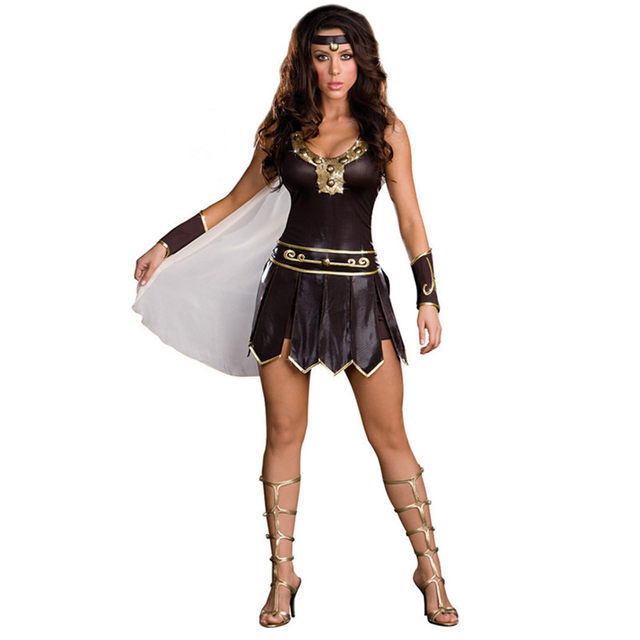 New Sexy Women Halloween Masquerade Female Ancient Greece Ares Gladiator Warrior Brown Disfraces Cosplay Sleeveless Costumes  sc 1 st  Aliexpress & Online Shop New Sexy Women Halloween Masquerade Female Ancient ...