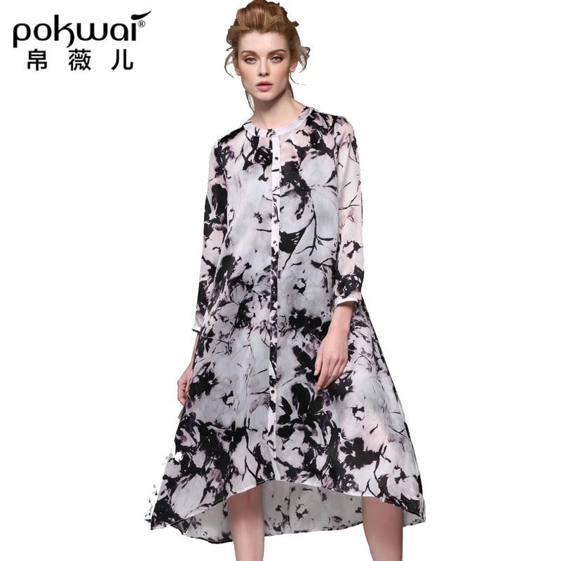 POKWAI Long Vintage Silk Summer font b Shirt b font Dress font b Women b font