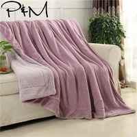 Papa & Mima однотонный толстый зимний плед одеяло, теплое покрывало Twin Queen Size