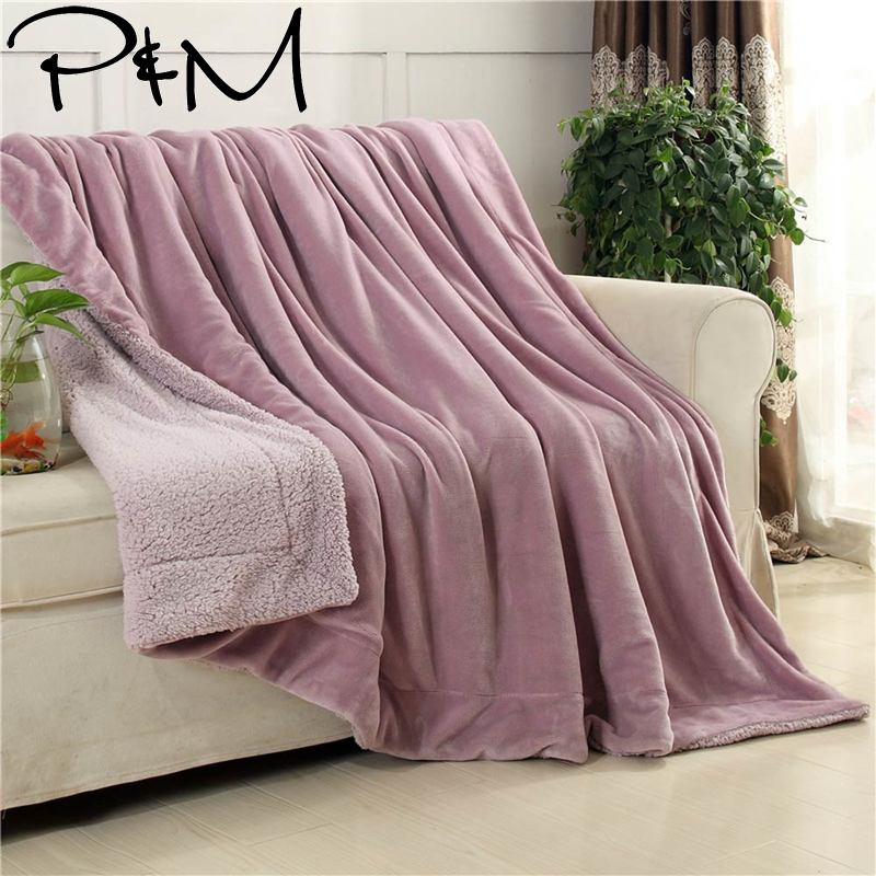 Papa&Mima Pale Pink Solid Thick Winter Throw Plaids Blanket Warm Sherpa Berber Fleece Bedding  Twin Queen Size Bedspread