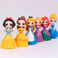 Disney Princess Alice Belle Mermaid Snow White Cinderella Model Doll Toy Movie Action Figure Model Long Hair Dressing Pretended