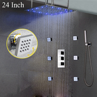 European Style LED Shower Heads Square Rain Bathroom Shower Kit 6PCS/set Shower Massage Jets Copper Thermostatic Mixer Valve
