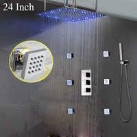 Europejski styl LED Słuchawki prysznicowe kwadratowy deszczu łazienka prysznic zestaw 6 sztuk/zestaw prysznic masaż Jets zawór miedzi termostatyczny mikser zawór