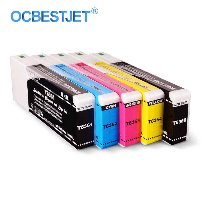 5Colors/Set T6361-T6364 T6368 Compatible <font><b>Ink</b></font> <font><b>Cartridge</b></font> Filled With Pigment <font><b>Ink</b></font> For <font><b>Epson</b></font> Stylus Pro <font><b>7700</b></font> 9700 Printer 700ML/PC image