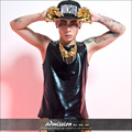 Male o-neck black Loose Vest fashion male singer costumes