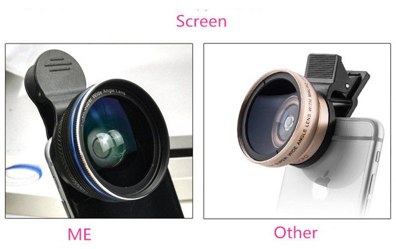 Cell Phone Lenses 0.45X/0.6X Super Wide Angle 12.5x Macro Lens For iPhone 6 Plus 7 5S xiaomi 5 Samsung S7 Edge Camera lens Kit 6