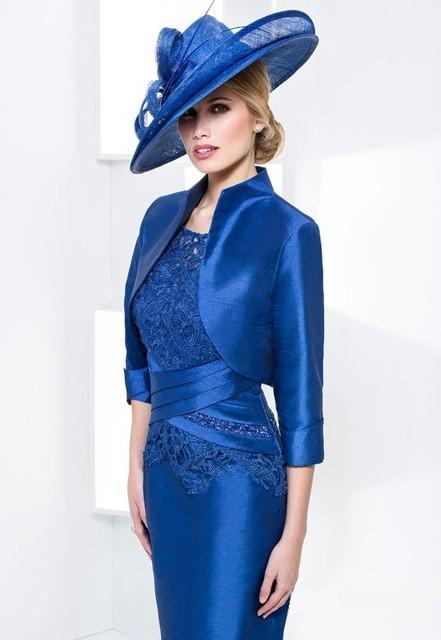 Custom Made Vestido De Madrinha Gratuito Bolero Azul Royal Tafetá Applique Lace Mãe de Vestido de Noiva Vestido de Noite