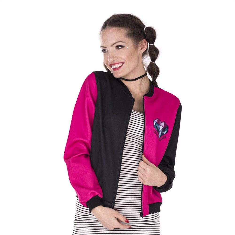 New Design Women Bomber   Jacket   Triangles Heart Printing Stitching Jaqueta Feminina Sexy Slim   Basic     Jacket   for Woman