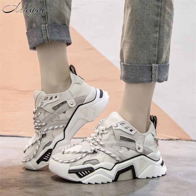 Mhysa 2019 Spring New Women Chunky Sneakers Platform Women Fashion Comfortable Lace-up Woman Trainers Ladies Footwear T1028