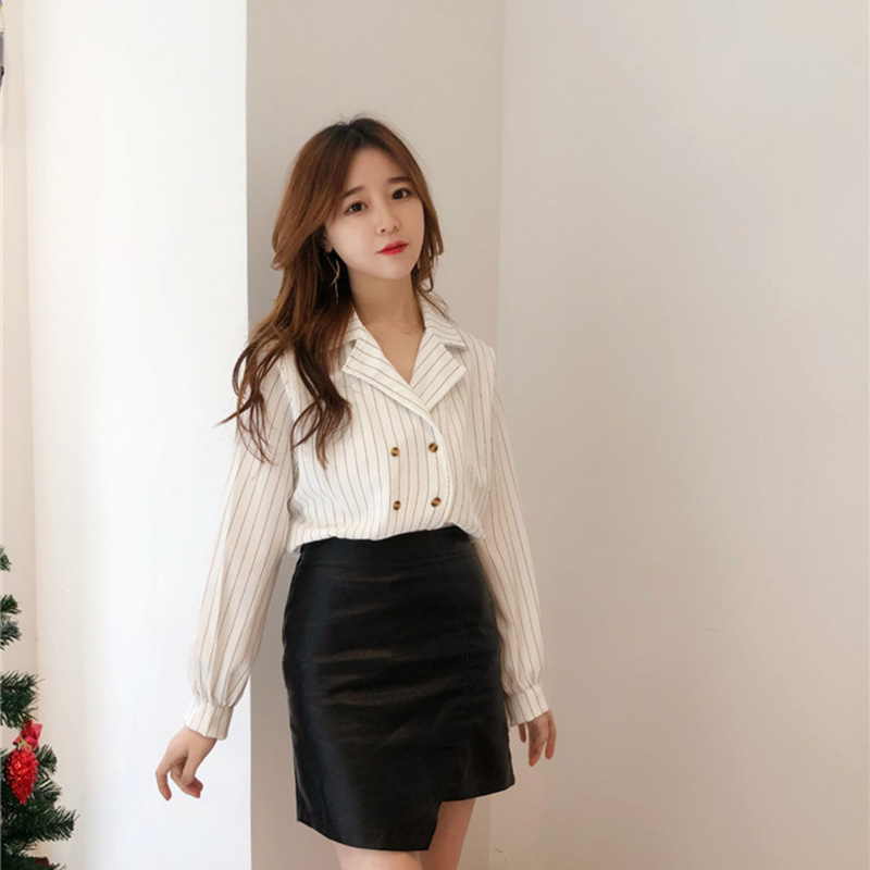 Shirts Women Simple Retro Striped All-match Double-breasted Korean Style Students Notched Womens Elegant Blouses Loose Chic 2019 4
