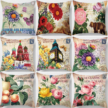 Hot sale cartoon  art vintage style butterfly clockPillow case square flowers pillow cover size 45*45cm