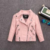 2 14Y Children's motorcycle jacket Pu leather jackets for baby girl boys coats kids spring autumn tops leather jacket