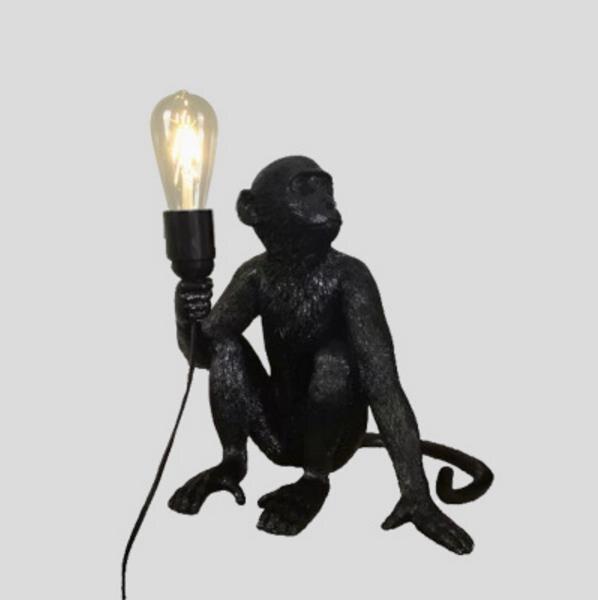 Resina preto branco macaco luz pingente para sala de estar lâmpadas sala estar estudo arte luzes led lustre com e27 lâmpada led - 6