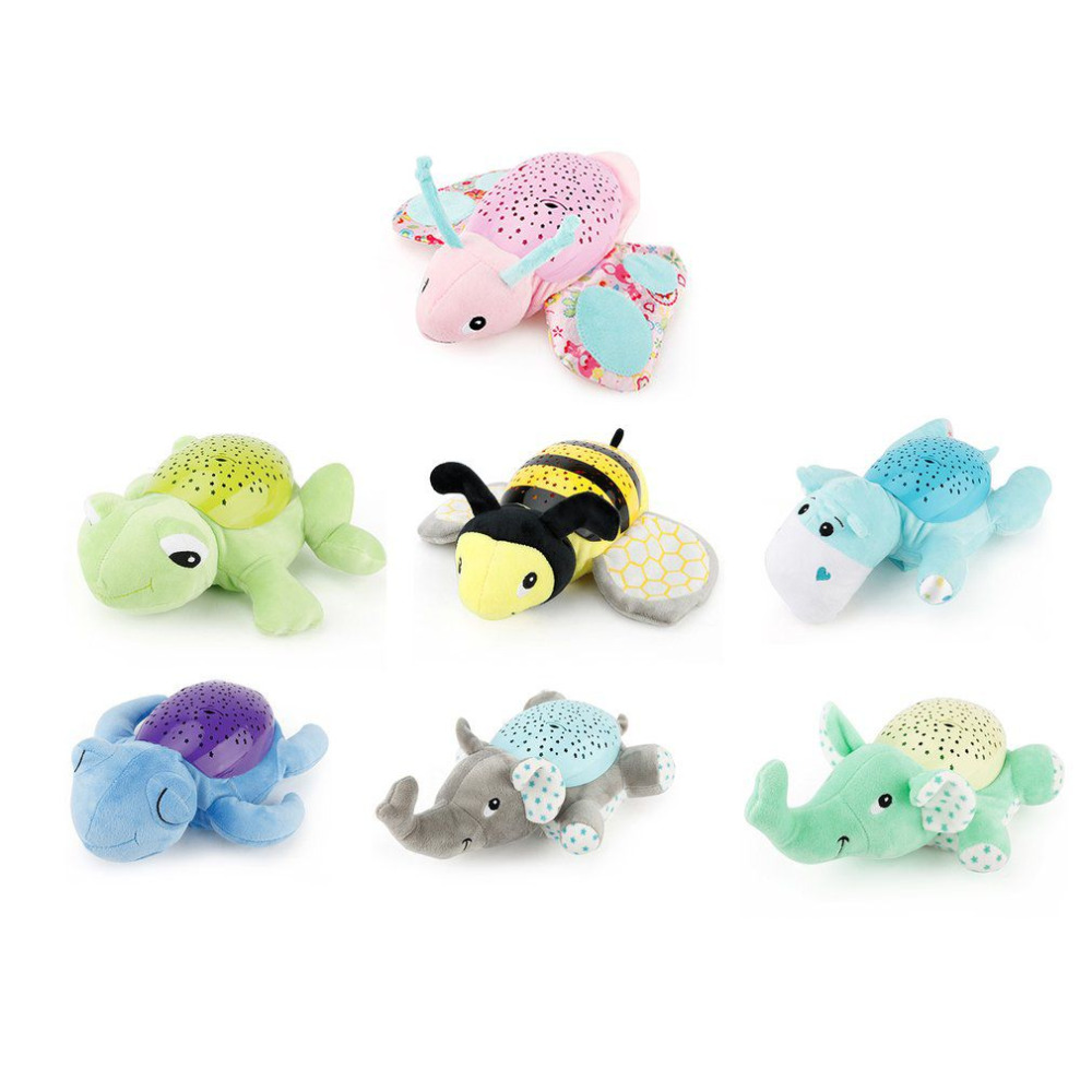 все цены на Baby Plush Toy Projector Night Lamp Music Sleeping Starry Light Star Projection and Melodies Butterfly Elephant Turtle Hippo Bee