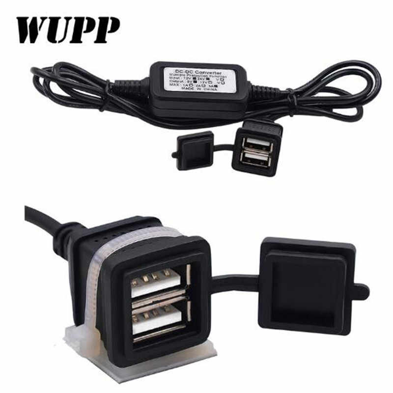 WUPP Waterproof 5V 3A Car Motorcycle Dual USB Charger Power Supply Socket Adapter Charger Charging DC12V