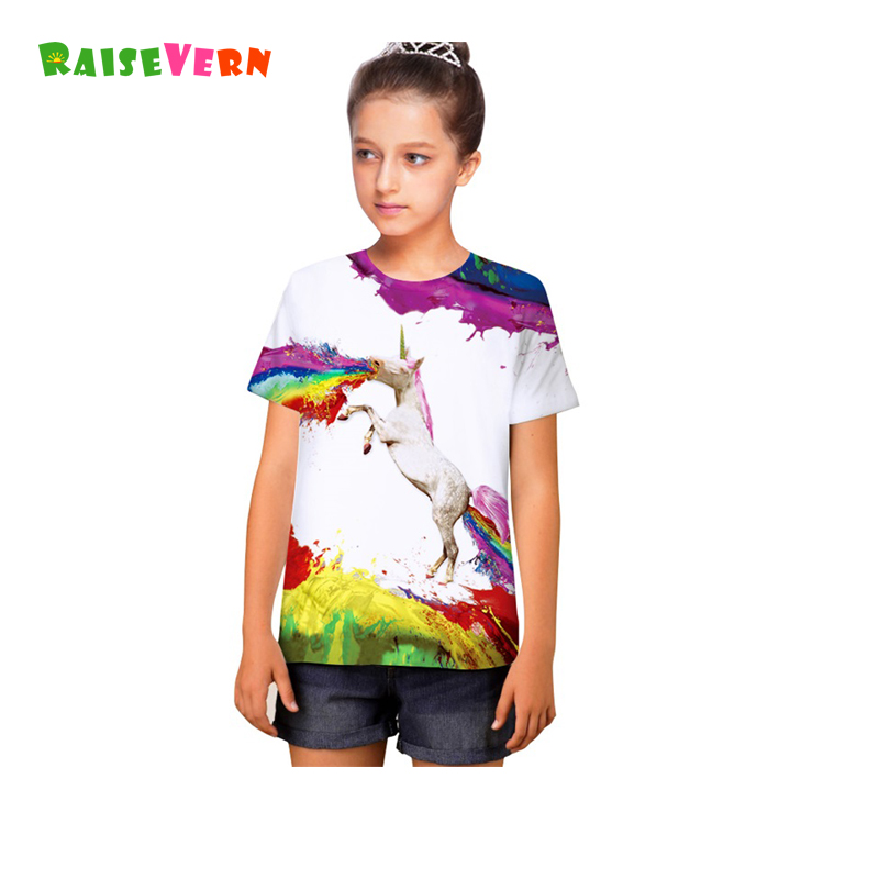 T-Shirts Clothing Short-Sleeve Horse-Printed Girls Boys Kids Children Summer Unisex 3D