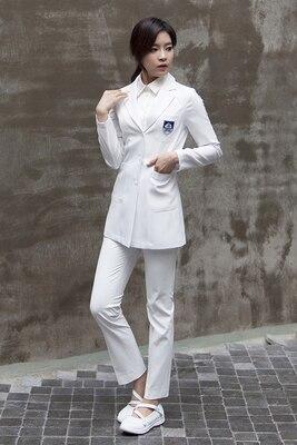 Plastic surgeon wear white coat long sleeve han version beauty salon beautician work clothes beauty dentist uniform summer