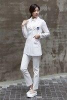 Пластиковое хирургическое белое пальто с длинными рукавами Модель Хан салон красоты косметолога рабочая одежда красота дантист Униформа л