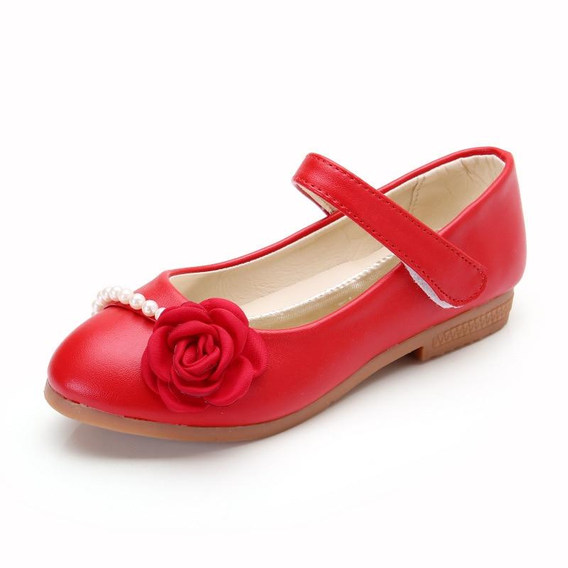 5de7fb10d20e11 Princess Girls Leather Shoes Soft Outsole Spring Autumn Dance Shoes Low  Heel Kids Moccasins Party Dress Fancy Sandals White Red