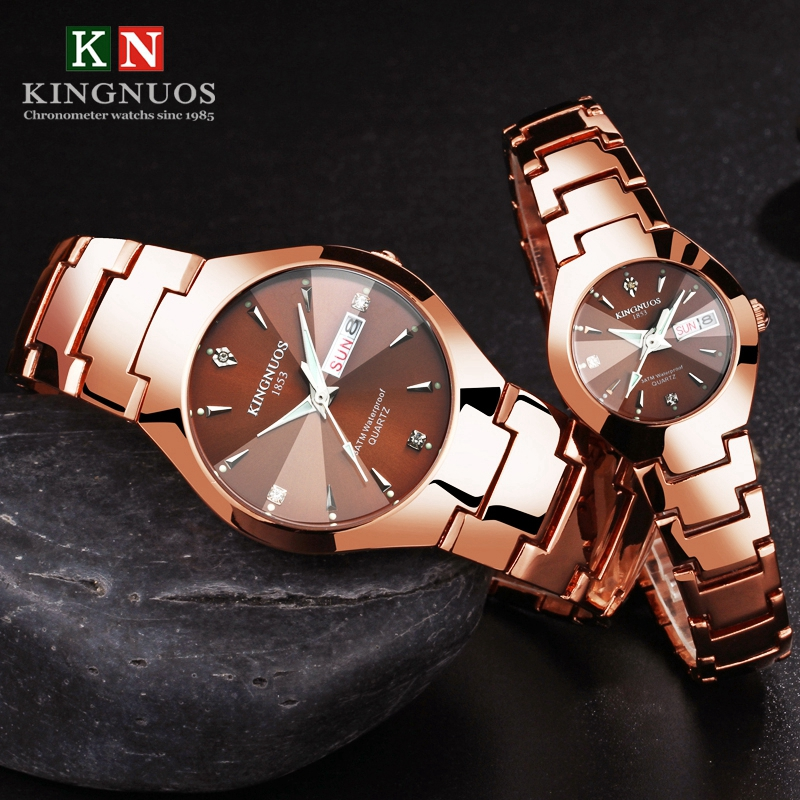 KINGNUOS Lovers Watch Luxury Mujer Hombre Feminino Fashion Quartz Womens Wristwatch Men Watch Waterproof Calendar Watch