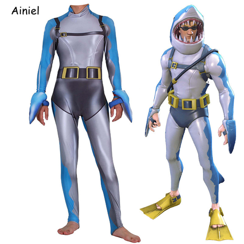 Game Fortnight Cosplay Costume Shark Chomp SR Cosplay Suit Zentai Bodysuit Jumpsuits Halloween Costume for Men Adult Kids