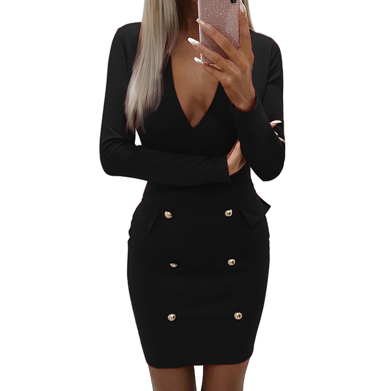 <font><b>Sexy</b></font> <font><b>Dress</b></font> <font><b>Women</b></font> Deep <font><b>V</b></font>-<font><b>Neck</b></font> Button <font><b>Bodycon</b></font> <font><b>Dress</b></font> Female Long Sleeve <font><b>Autumn</b></font> <font><b>Dress</b></font> festa Club <font><b>Ladies</b></font> <font><b>Dresses</b></font> <font><b>Women</b></font> <font><b>2018</b></font> robe image