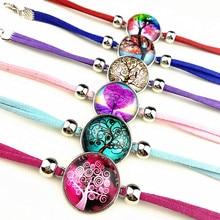 24pcs Albero della Vita, anacardi fiore, mandala, rosa multicolore di Vetro cabochon Stile Etnico Retro braccialetti di fascino di Stile per le donne