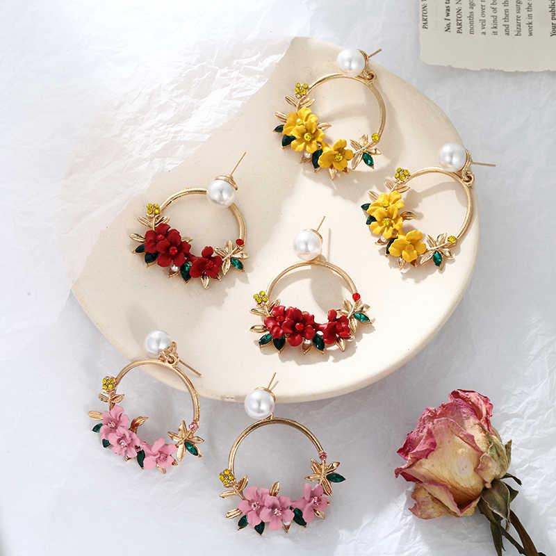 น่ารักน่ารักน่ารักสีชมพูดอกไม้ต่างหูหญิงเครื่องประดับหญิง Rhinestone โลหะรอบวงกลม Drop ของขวัญต่างหู Brincos