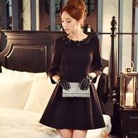 original design vestidos de fiesta spring autumn fashion slim waist elegant flower collar black party dresses women wholesale