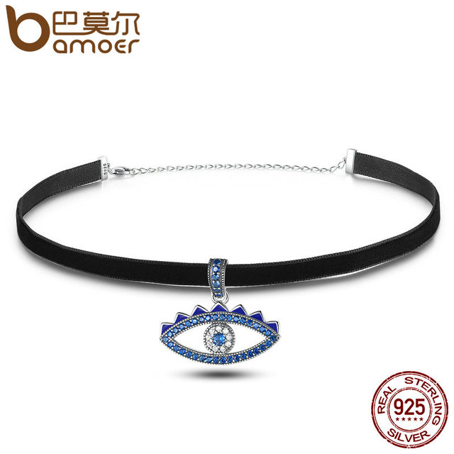 Sterling Silver Crystal Evil Eye Choker Necklace