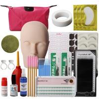 Eyelash Extensions Tool Kit Eyelashes Semi Permanent Make Up Individual False Lash Curl Glue Tweezer Practice Graft Lashes Kit