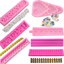 1PC 3D Pearls Strip Rose Flower Embossed Heart Buttons Ropes Garden Fence Silicone Chocolate Fondant Molds Cake Decorating Tools