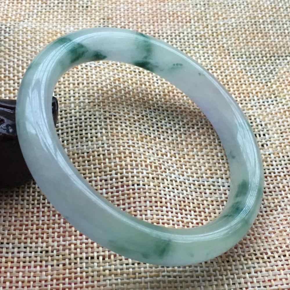 54.9มิลลิเมตรธรรมชาติลาเวนเดอร์สีเขียวหยกJadeiteกำไลสร้อยข้อมือที่ทำด้วยมือF49