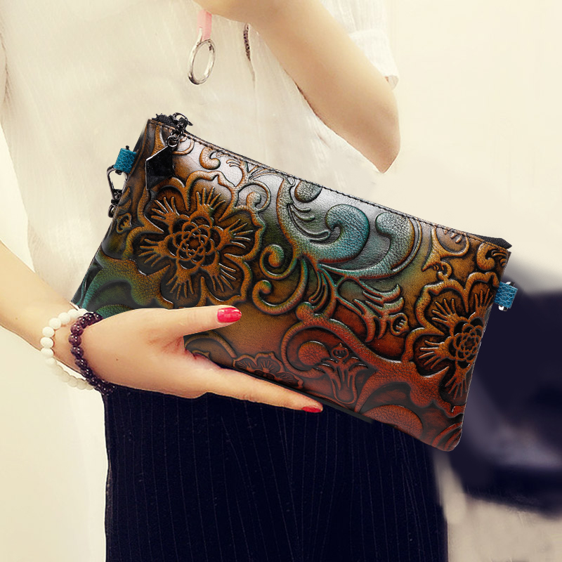 Women Evening Clutches Lady Banquet Bag Vintage Embossing Genuine Leather Wallet Envelope Shoulder Hand Clutch Bag Crossbody Bag vintage serpentine genuine leather woman clutches evening bag crossbody chain shoulder bag handbag clutch wallet lady long purse