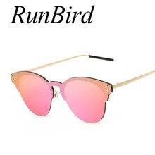 54f555fe22647 RunBird 2018 New Cat Eye Sunglasses Mulheres Marca Designer de Moda Lentes De  Sol Espelho Cateye Óculos de Sol sem aro para o Se.