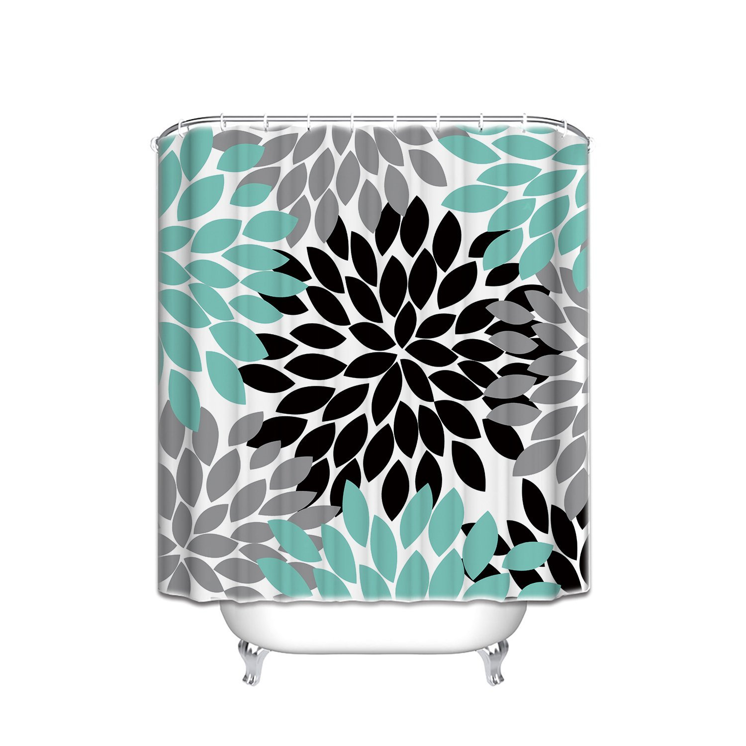 Teal and black shower curtain - Memory Home Customize Waterproof Black Grey Green Dahlia Floral Print Polyester Fabric Bathroom Shower Curtain